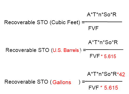 STO (Stock Tank Oil Calculation Formula)