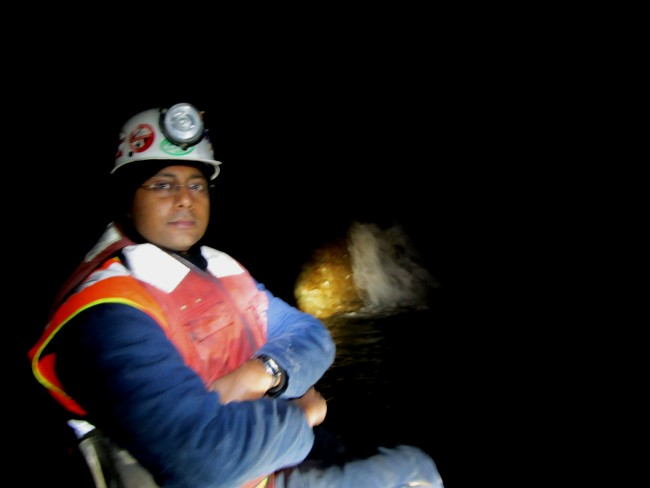 This is me in an underground mine-floating on a boat